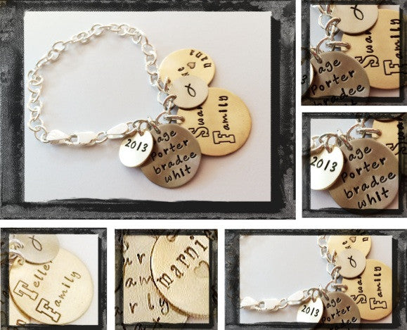Family Bracelet - Personalized Mixed Metal Link Family