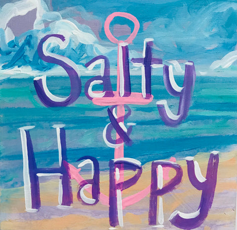 Salty & Happy Painting on Wood- Purple