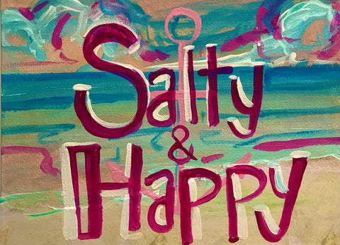 Salty & Happy Mixed Media Painting on Canvas Panel Board