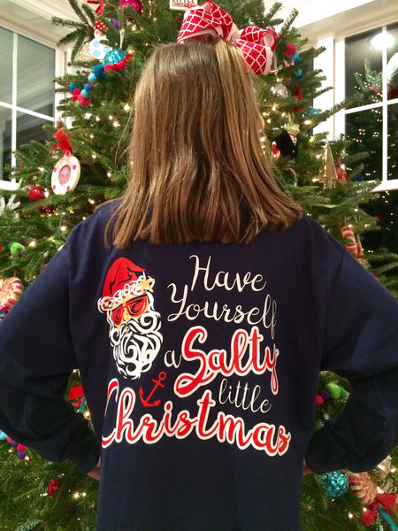 Salty Little Christmas, YOUTH, Navy Blue, Long Sleeve Tee