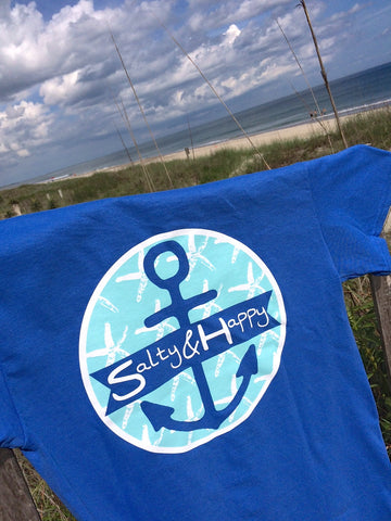 Starfish Salty & Happy, Tidal Blue, Short Sleeve Tee