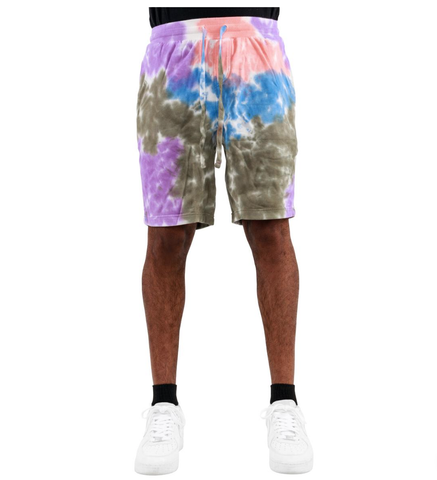 Tie-Dye Shorts (Olive/Pink/Prp) /D15
