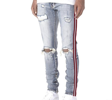 503 Red Stripe Ankle Zipper (Light Wash) /C9