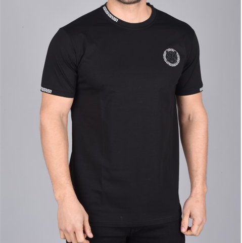 Aztec Print Neck Logo T-Shirt (Black)