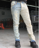 Ying Yang Distressed Denim (Blue/Khaki) /C6