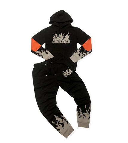 Reflective 3M Flames Set (Black) / C1