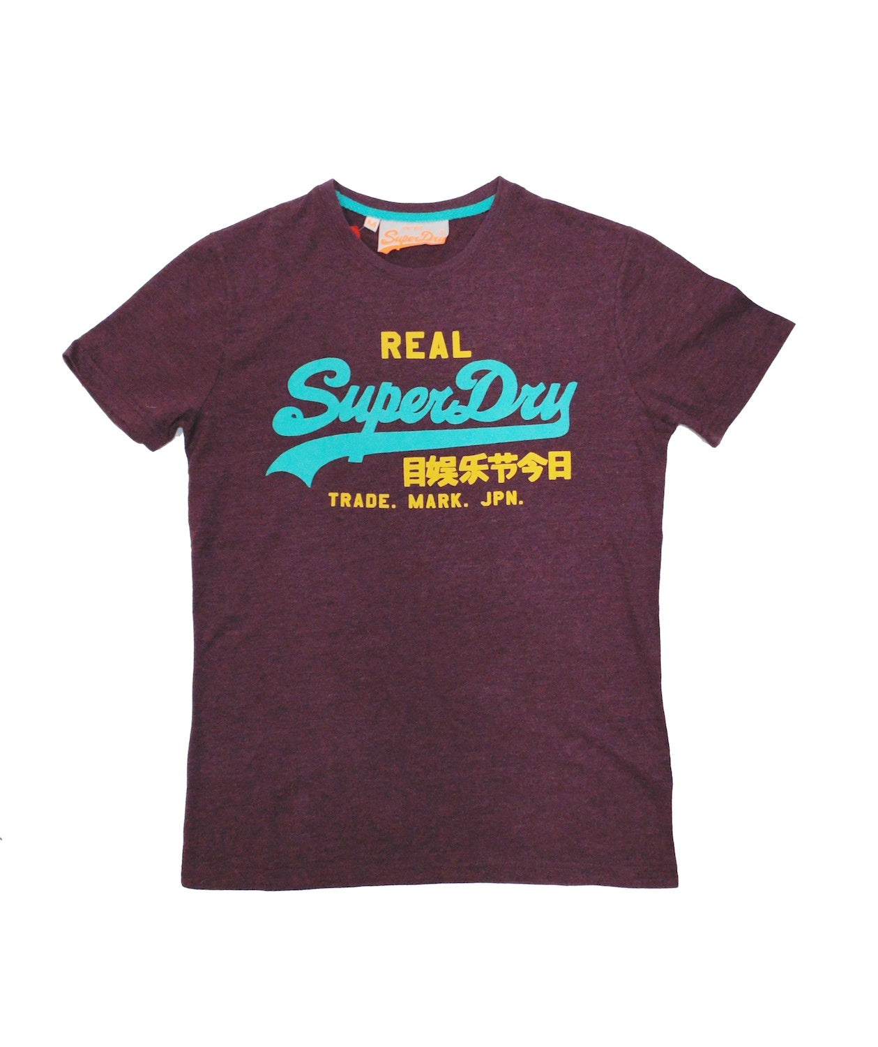 Super Dry Port Marl T-shirt Burgundy Teal Yellow
