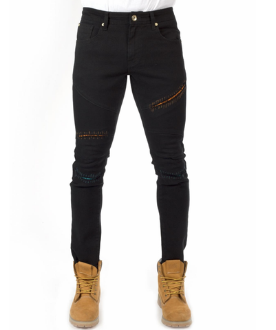 Distressed Stitch Denim (Black) /C6