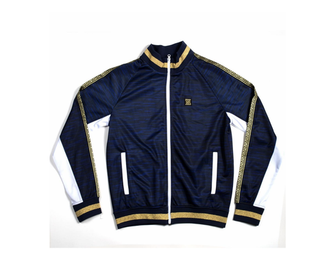 Gold Trim Track Jacket (Navy/Gold)