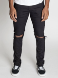 Destroyed Knee Ankle Zip Denim (Black) /C7