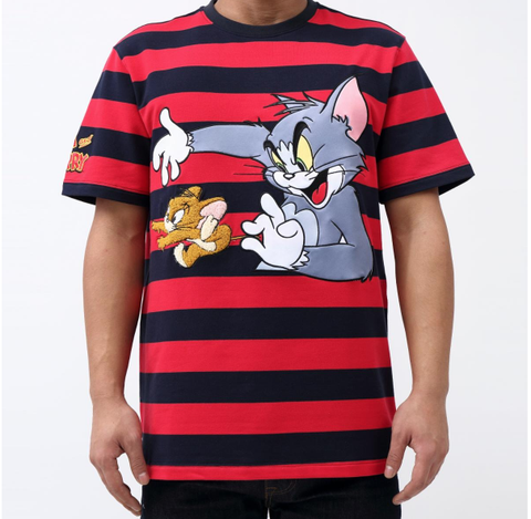 Striped Tom And Jerry Tee (Red/Blk)