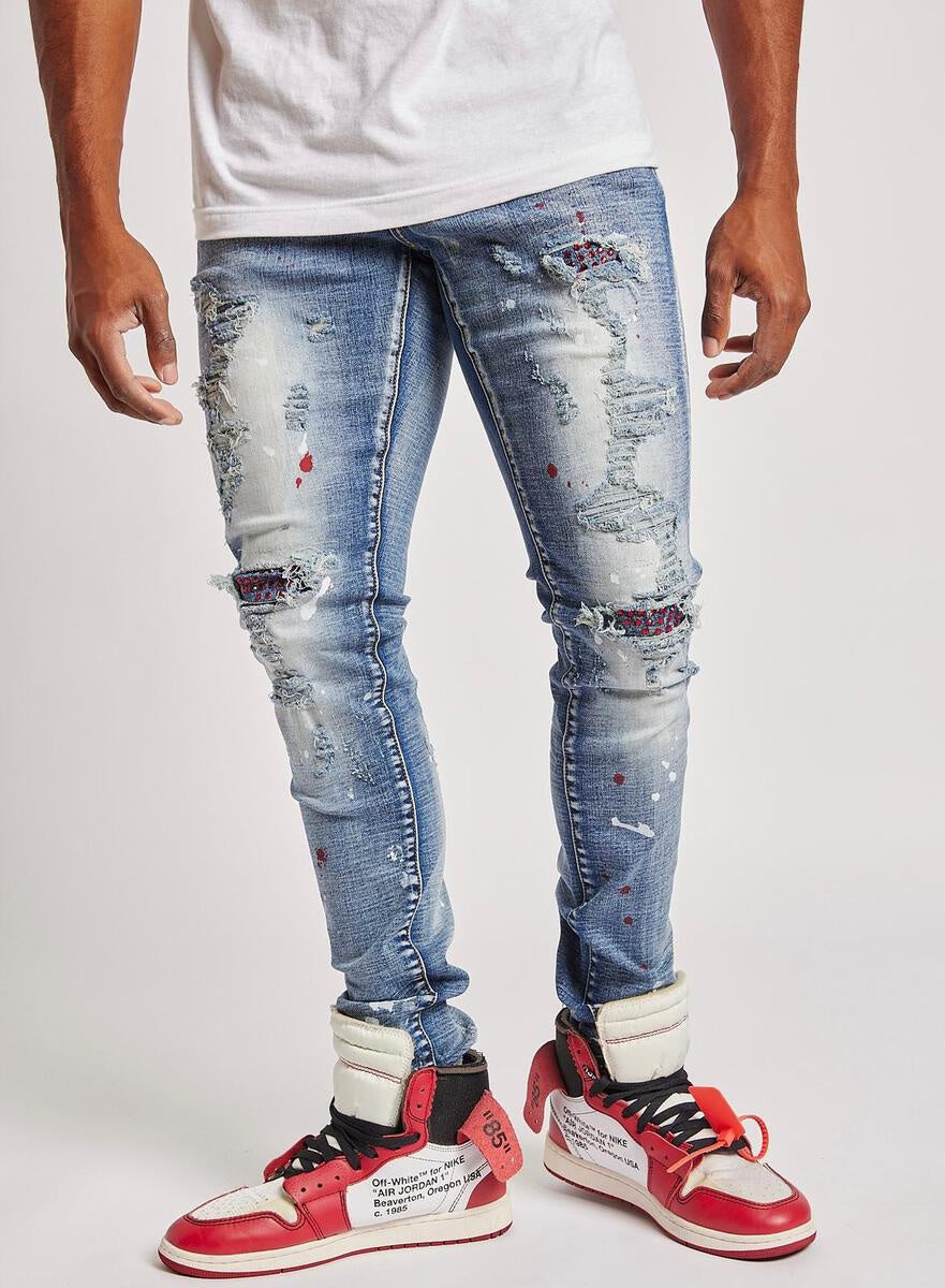 Atlantas Premium Stretch Rhinestone Denim (Blue) /C1