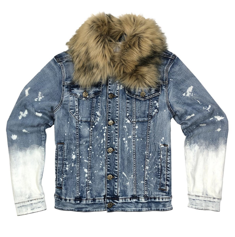Bleached Denim w/Fur Jacket (Light Blue) /D10