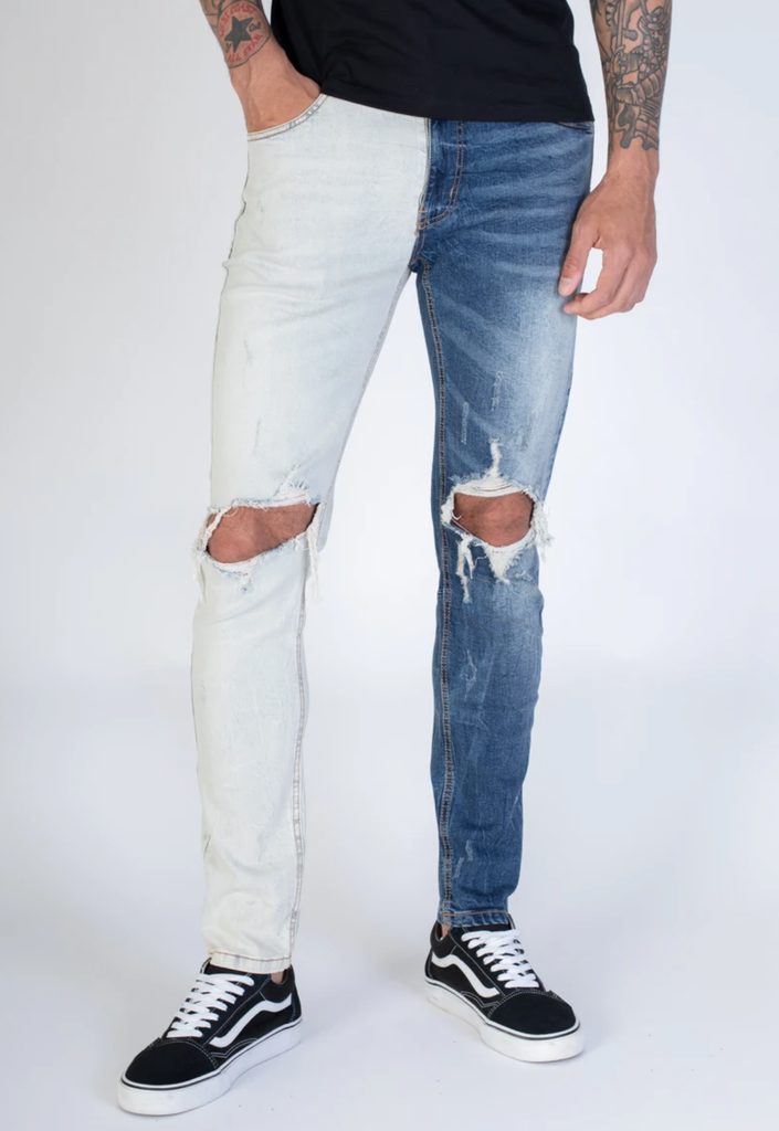 Distressed Contrast Denim (Blue) /C3