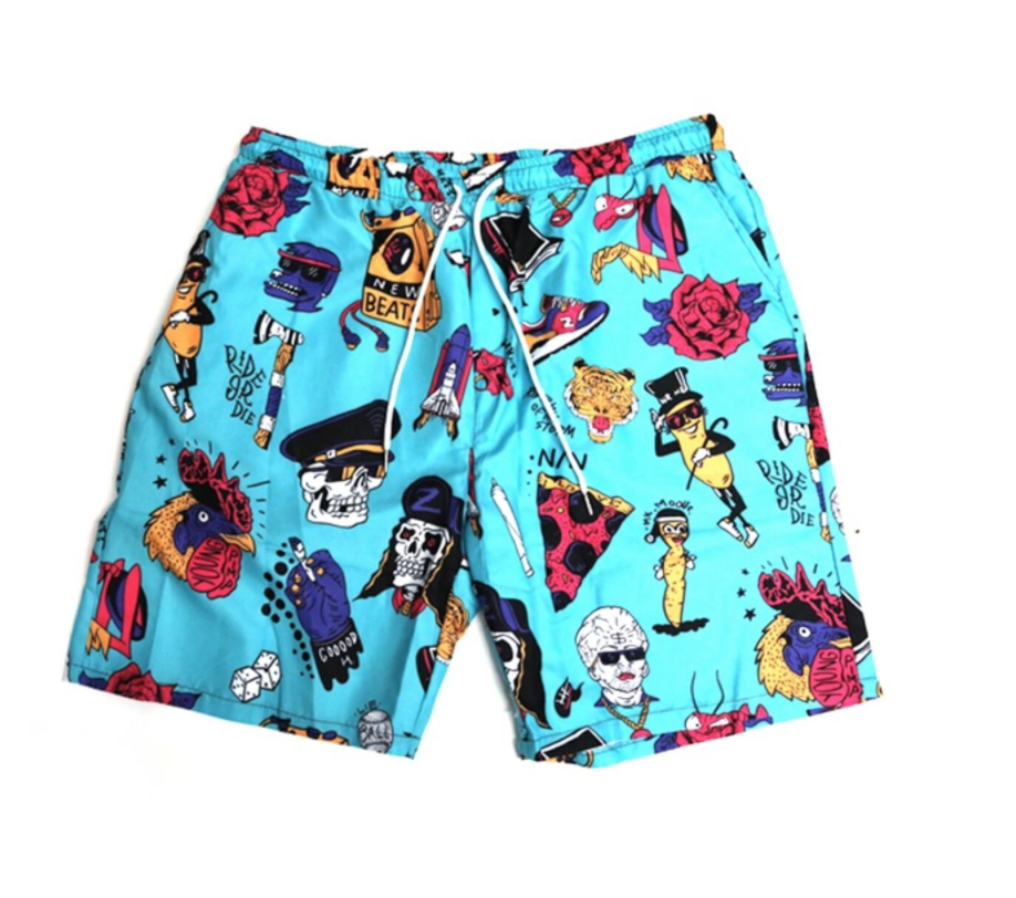 3 Pocket Summer Shorts (Cartoon Blue) /D12