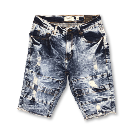 Distressed Wash Shorts (S. Blue) /C9