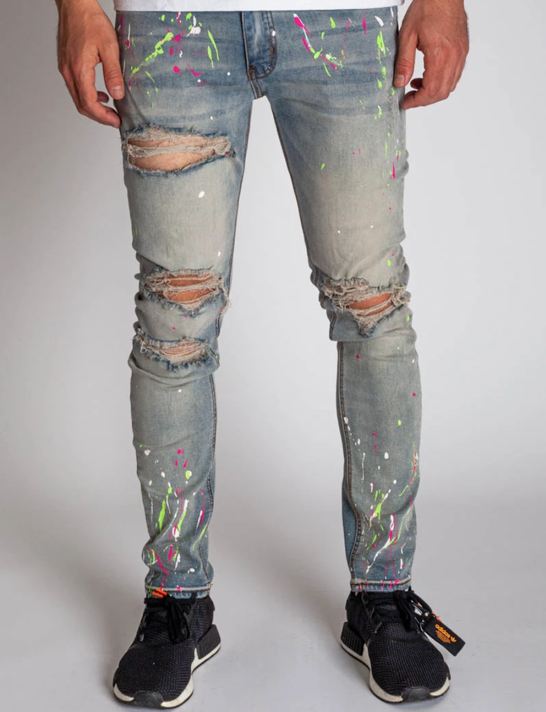 Neon Paint Splatter Denim (Tinted L. Blue) / C3