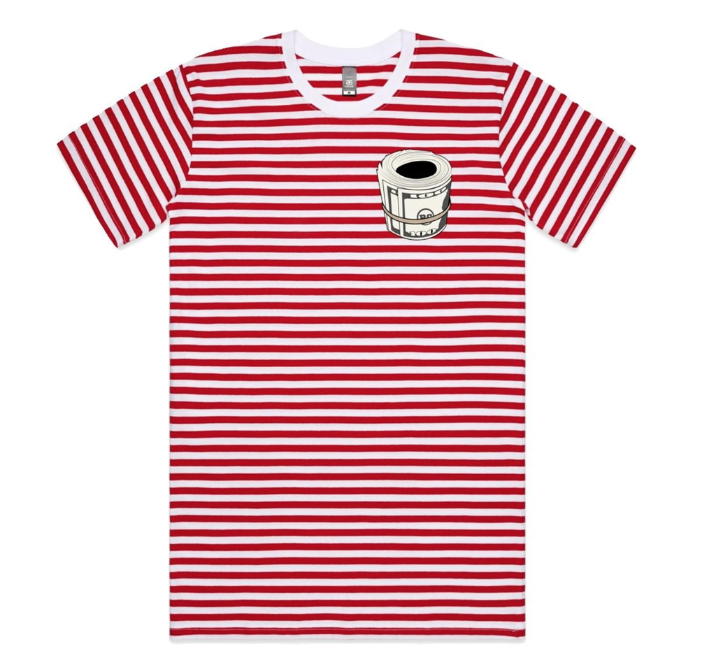 Money Stripe Tee (Red/Wte) /D18