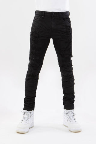 Rip & Repair Wax Denim Jeans (Jet Black) / C4