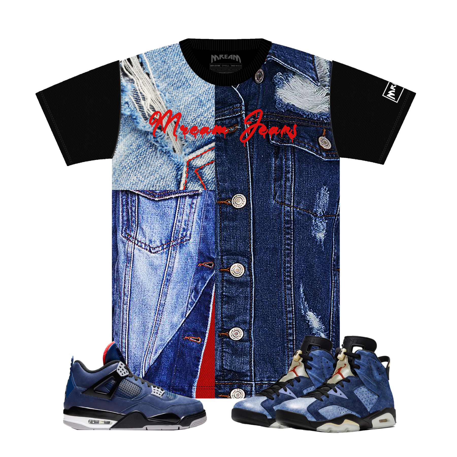 Contrast Denim on Denim Tee (Blue) /D18