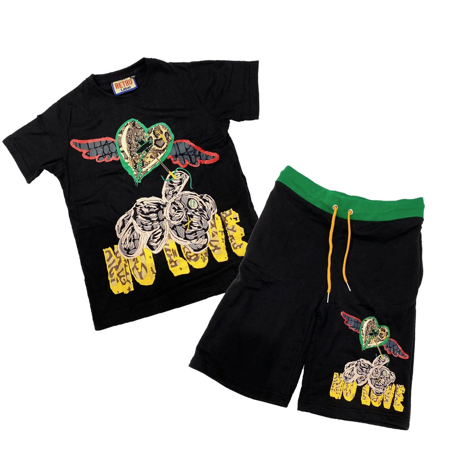 No Love SS Set (Blk/Red/Grn/Yllw) /D18
