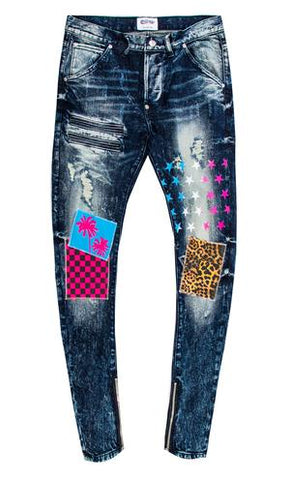 Deric Patch Graffiti Denim Jeans (Dk. Blue) / C6