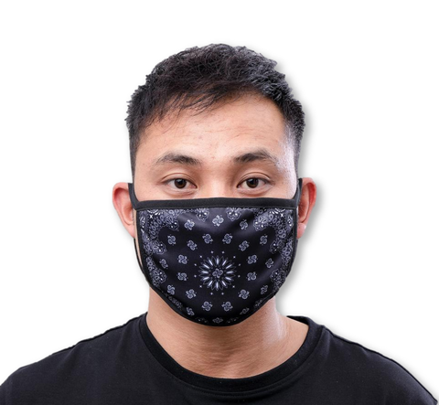 Solid Paisley Face Mask (Black)