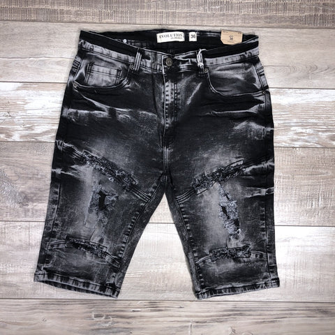 Distressed Wash Shorts (Noir Black) /C3