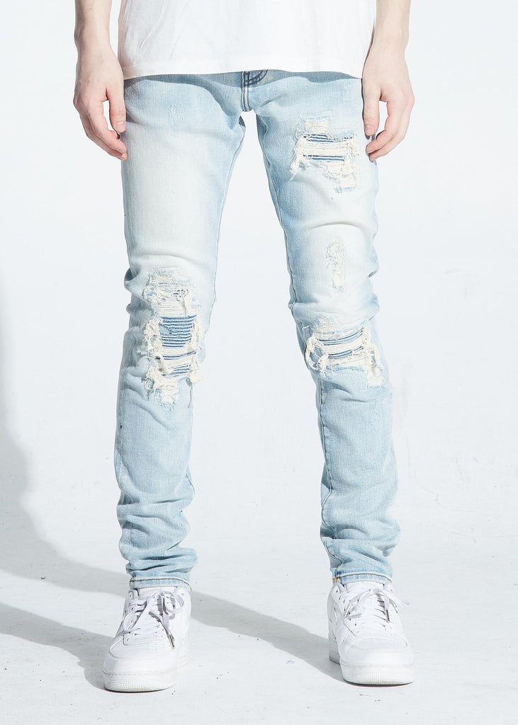 Biker Knee Distressed Atlantic Denim (Lt. Wash) / C7
