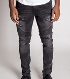 Destroyed Ankle Zip Biker Denim (Dk. Med Grey) / C4