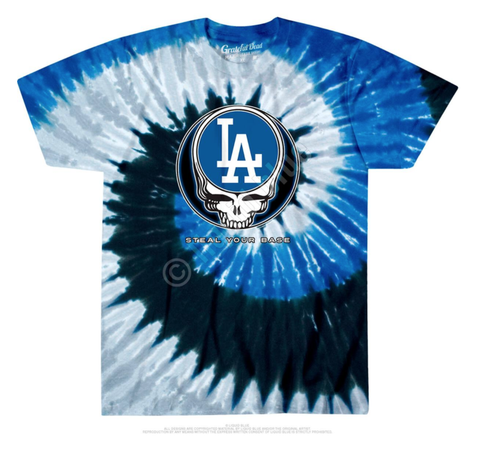 Los Angeles Dodgers Steal Your Base Tie-Dye Tee (Blue) /D?