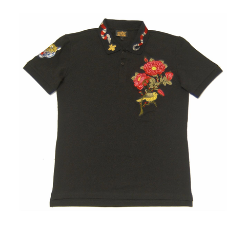 Black Flower Polo