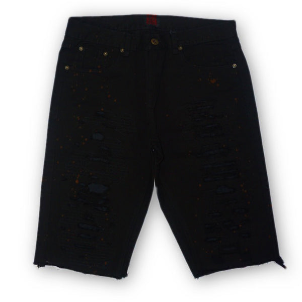 Distressed Spot Denim Shorts (Black) /C7