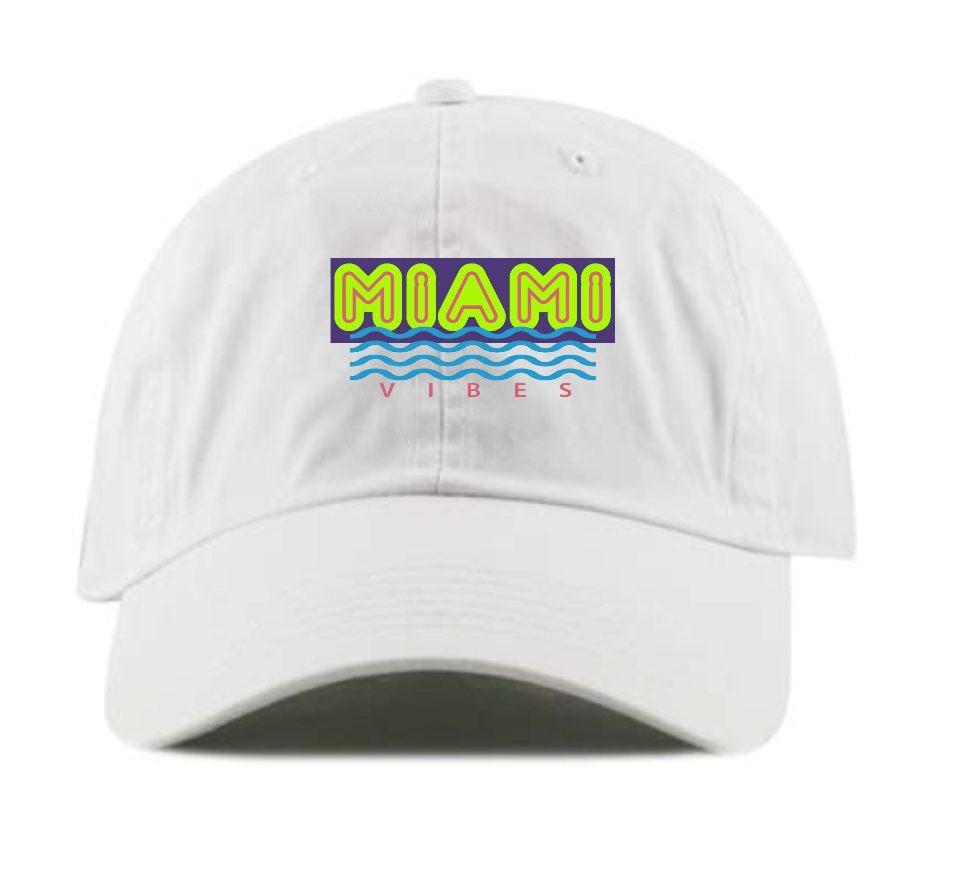 Miami Vibes Dad Hat (White)