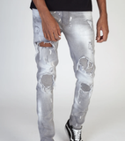 Pintuck Patch Biker Denim (Grey) / C5