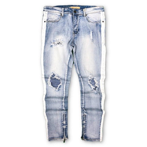 Distressed White Stripe Slim Denim (Sand Blue) /C1