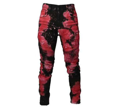Biker Bleached Spot Denim (Red Hawaii) /C5