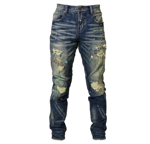Destroyed Stain Denim (Dubai Indigo) /C1