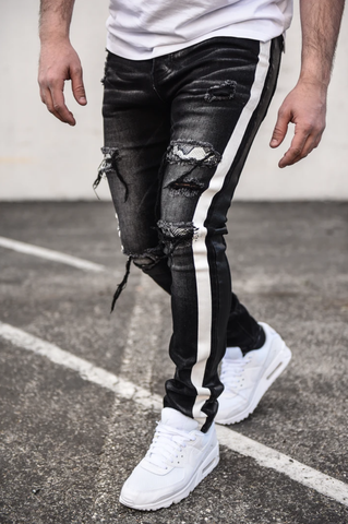 Spare Distressed White Stripped Denim (Black) /C9