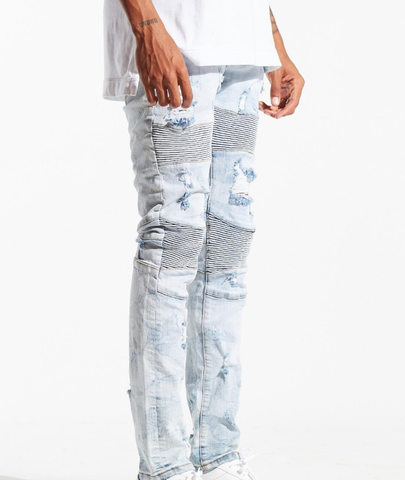 Bron Distressed Biker Denim (L. Blue) /C9