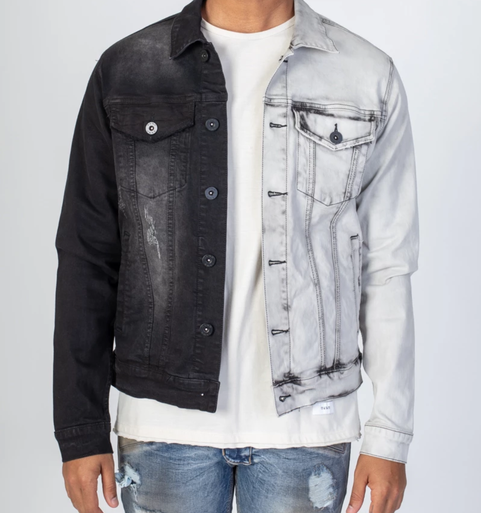 Contrast Denim Jacket (Black/Grey) /D16