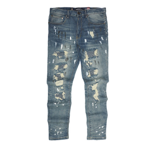 Distressed Stone Biker Denim (Vintage Blue) /