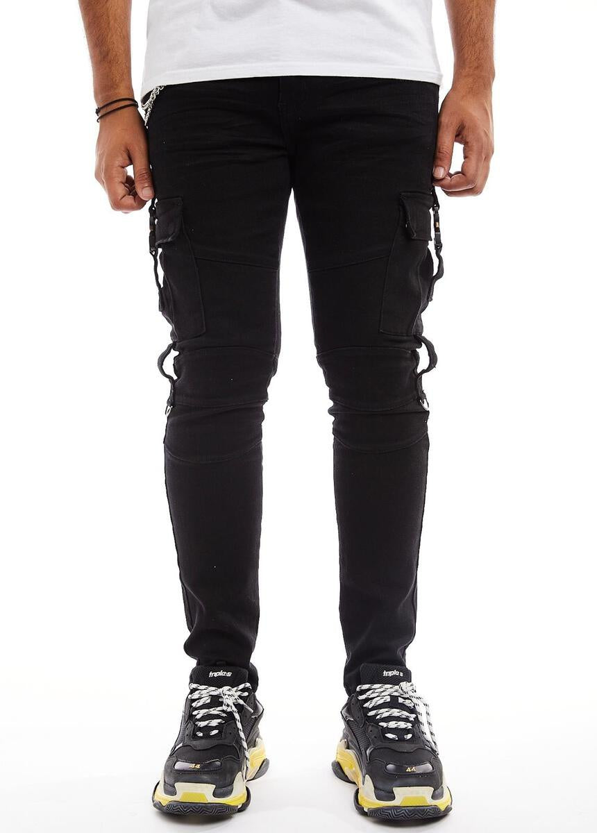 Pine Cargo  Denim w/ Double Roller Coaster Buckles (Black) / C5