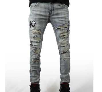 Indigo Skull Patch Jeans (LT Wash)/ C6