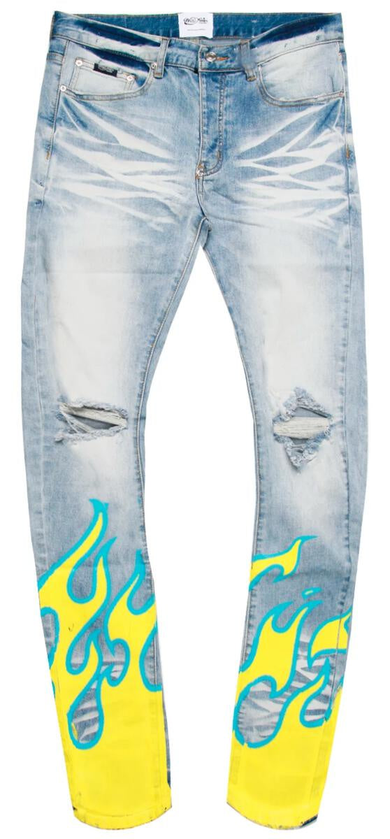 Hot Rod Jeans (Blue/Yellow) /C3