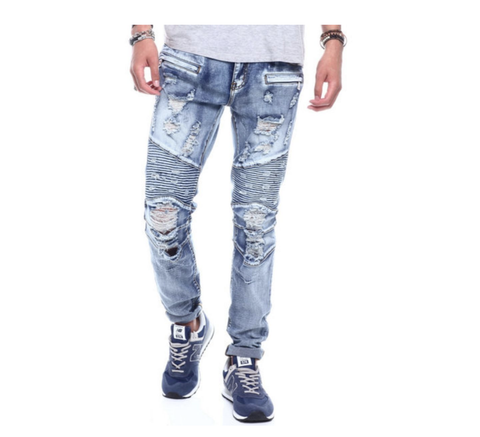 Distressed Biker Denim (Male Indigo) / C8
