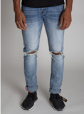 Open Knee Ankle Inner Tape Denim (M.Blue) /C3