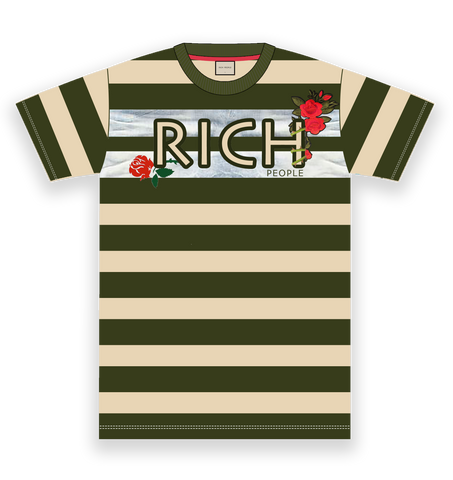 Rich Rose Embroidery Stripe Tee (Olive/Cream)