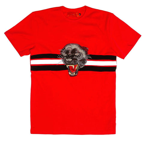 Wild Cat Embroidery Tee (Red)