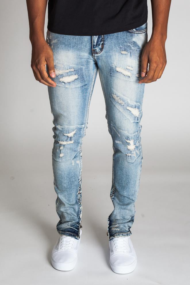All- Over Stitch  Ankle  Zip  Jeans (Blue) /C2